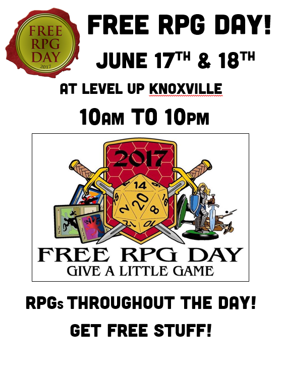 Free RPG Day 2017 - Level Up Games & Hobbies